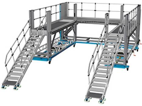 Передвижная фронтальная рабочая платформа для из алюминия для доступа к передней части поезда