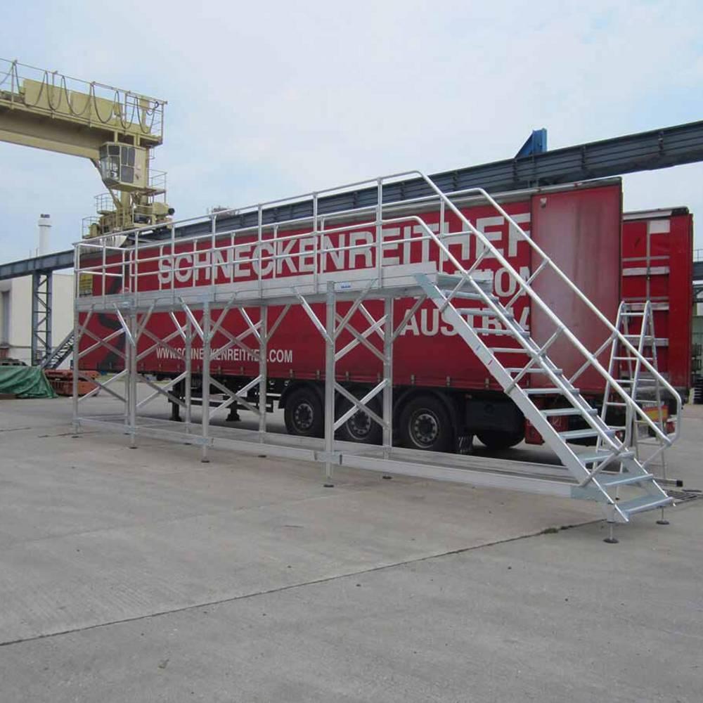 Стационарная рабочая платформа для обслуживания коммерческого транспорта