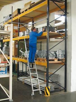 Пример использования Стеллажная лестница двойной стеллаж, круглая шина