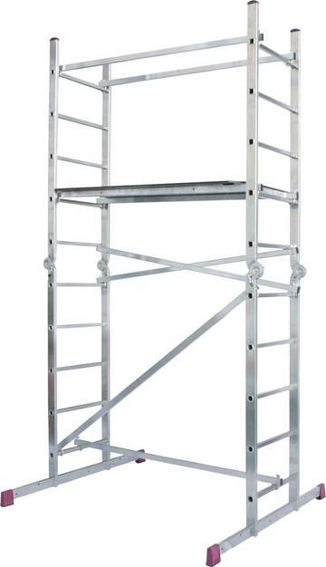 Универсальные шарнирные подмости. Рабочая высота - 4,00 м. применяема как 2 отдельные лестницы с 10 перекладинами или две двухсторонний стремянки 2х5 перекладин