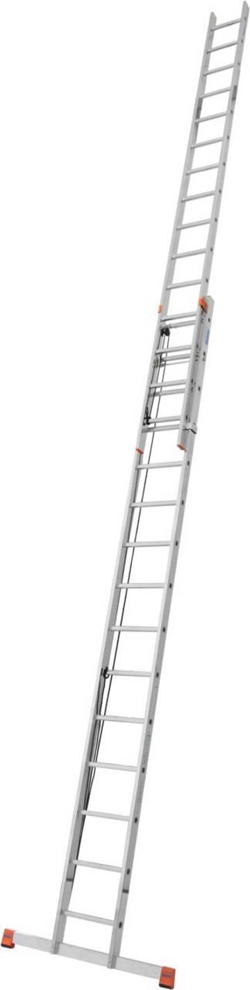 Легкая двухсекционная лестница с тросом и удобной регулировкой высоты.