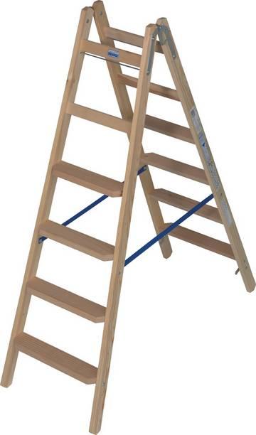 Комфортабельная, двухсторонняя стремянка из дерева со ступенями и перекладинами для проведения работ в соответствии с требованиями TRBS 2121-2. Востребована малярами и электриками.