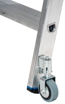 Стеллажные двухрядные лестницы. Два самостопорящихся демпфирующих ролика (Ø 80 мм) облег- чают перемещение; во взаимодействии с двухкомпонентными опорными пробками они обеспечивают устойчивость во время эксплуатации