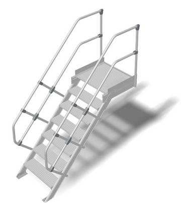 Прочный алюминиевый трап, обеспечивающий безопасный доступ к дверям, площадкам и т. д. в соответствии с DIN EN ISO 14122.
