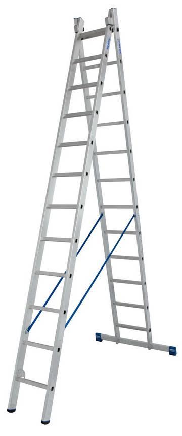 Легкая профессиональная двухсекционная универсальная лестница используется как стремянка, приставная и выдвижная лестница.