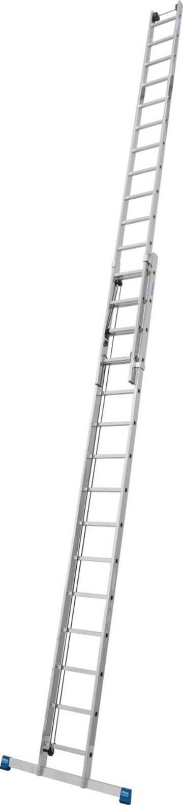 Двухсекционная лестница с тросом для профессионального использования с рабочей высотой до 13,10 м с настенными роликами для удобного выдвижения лестницы.