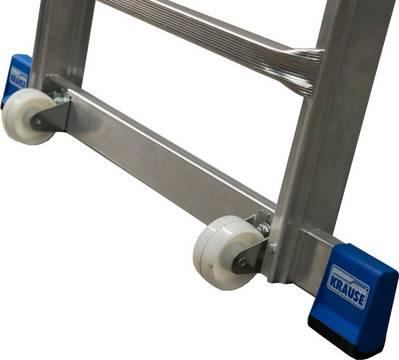 Телескопическая лестница с платформой. Траверса с роликами обеспечивает безопасное использование и легкую транспортировку