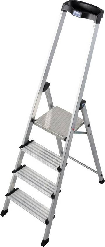 Легкая и комфортная алюминиевая стремянка с высокой дугой безопасности и практичной полкой для инструментов.