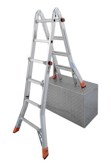 Шарнирная лестница с изменяемой высотой, легко трансформируется в приставную лестницу, двухстороннюю стремянку, которую можно ставить на ступени или в подмости (опциональное дополнение помостом TeleBoard).