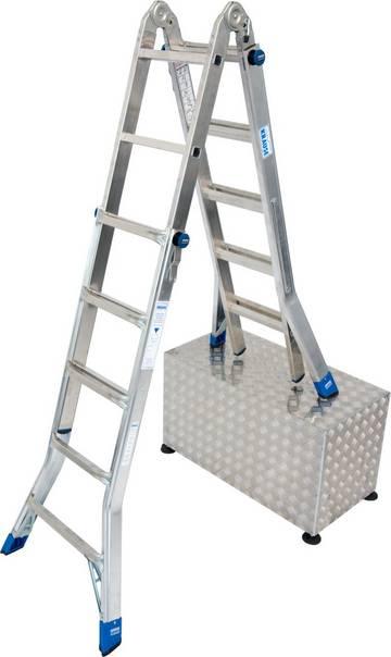 Профессиональная шарнирная лестница с изменяемой высотой, легко трансформируется в приставную лестницу, двухстороннюю стремянку, которую можно ставить на ступени, или в подмости (опциональное дополнение помостом TeleBoard).