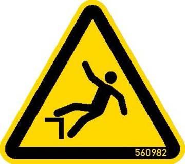 """Знак """"Внимание! Опасность падения!""""согласно ISO 7010 W008."""