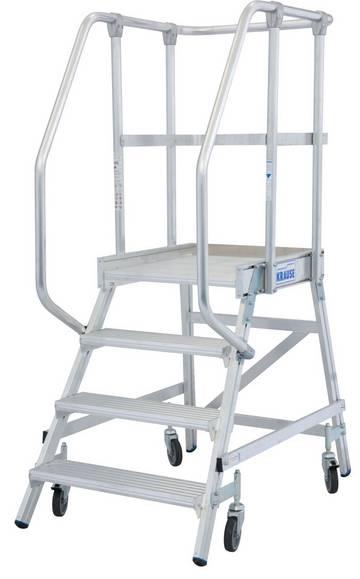 Односторонние передвижные алюминиевые лестницы с платформой. Широкие ступени, трехстороннее ограждение и большая платформа для удобства и безопасности при работе.