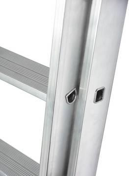 Раздвижная лестница +S. Долговечное 32 кратное развальцованное соединение перекладины с боковинами