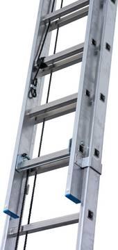 Двухсекционная лестница с тросом. Тросовая тяга не подвержена загрязнению
