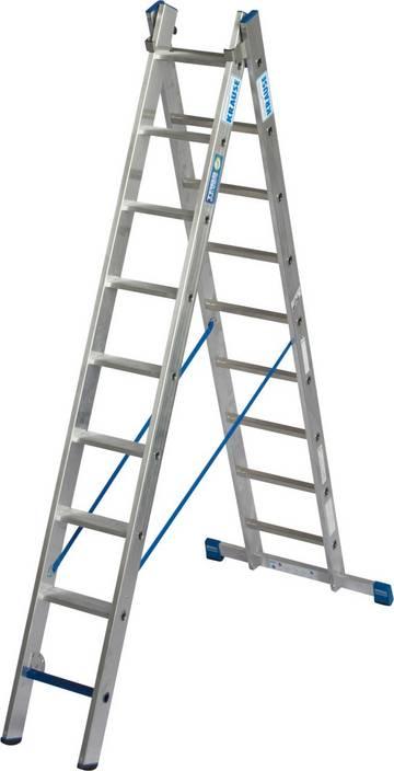Легкая, двухсекционная, профессиональная универсальная лестница из алюминия с комбинацией ступеньки/перекладины для применения в соответствии с TRBS 2121-2.Может использоваться как приставная и раздвижная лестница с траверсой.  Секция лестницы со ступенями может также использоваться в качестве рабочего места. Благодаря новой инновационной комбинации ступеней и перекладин лестница может использоваться при подъеме и как рабочее место, в зависимости от типа установки.