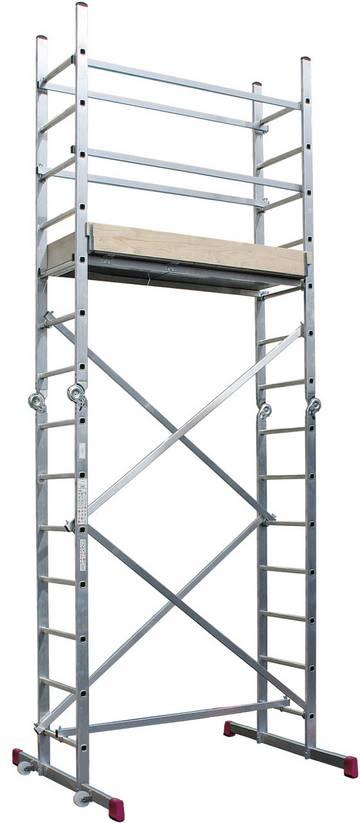Универсальные шарнирные подмости. Рабочая высота - 4,85 м. применяема как 2 отдельные лестницы с 14 перекладинами или две двухсторонний стремянки 2х7 перекладин