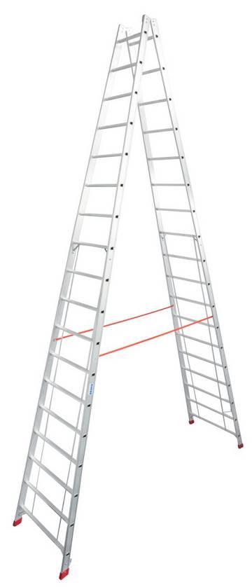 Профессиональная алюминиевая двухсторонняя стремянка. Развальцованные перекладины и металлические шарниры обеспечивают максимальную стабильность.