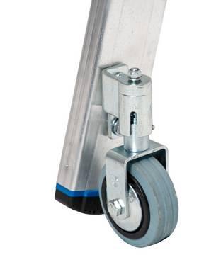 Стеллажные лестницы для Т - шины. Два самостопорящихся демпфирующих ролика (Ø 80 мм) облег- чают перемещение; во взаимодействии с двухкомпонентными опорными пробками они обеспечивают устойчивость во время эксплуатации