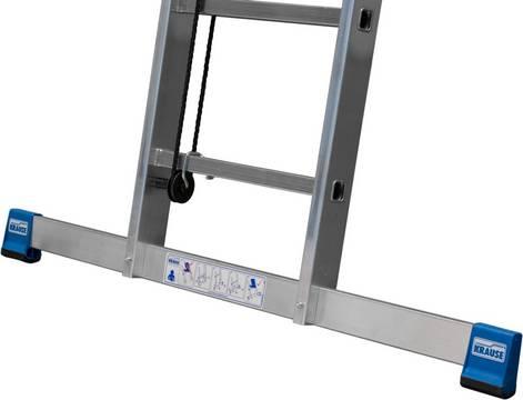 Двухсекционная лестница с тросом. Широкая поперечная траверса для дополнительной устойчивости