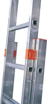 Двухсекционная выдвижная лестница Fabilo. Стальные направляющие с порошковым покрытием облегчают пользование лестницей