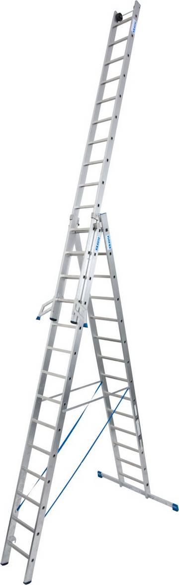 Трехсекционная универсальная лестница для профессионального использования. Используется как приставная или выдвижная лестница, а так же как стремянка с выдвижной или съемной частью.
