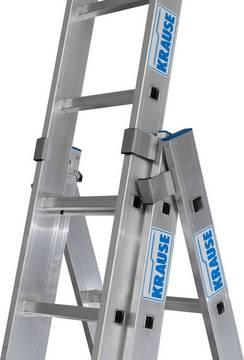 Трехсекционная универсальная лестница с дополнительной функцией. Алюминиевые направляющие обеспечивают высокую стабильность