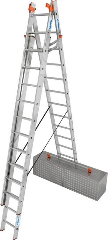 Трехсекционная универсальная лестница используется как приставная или выдвижная лестница, а так же как стремянка с выдвижной частью.