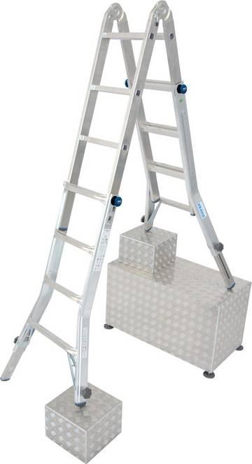 Создана для различных сложных задач. Усиленная, регулируемая по высоте лестница, может устанавливаться на ступенях, использоваться в виде приставной лестницы или стремянки, а так же в качестве рабочей платформы (в сочетании с помостом TeleBoard). Имеет четыре телескопических удлинителя боковин для регулировки высоты.