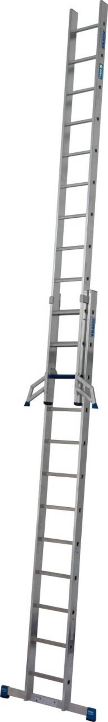 Стабильная, двухкомпонентная раздвижная лестница с комбинацией перекладина/ступень для применения в соответствии с TRBS 2121-2. Новая инновационная комбинация ступеней и перекладин в лестнице можетиспользоваться при подъеме и как рабочее место.. При помощи инновационной системы KRAUSE Trigon-траверса части лестницы раздвижной лестница 2 x 12 могут использоваться отдельно.