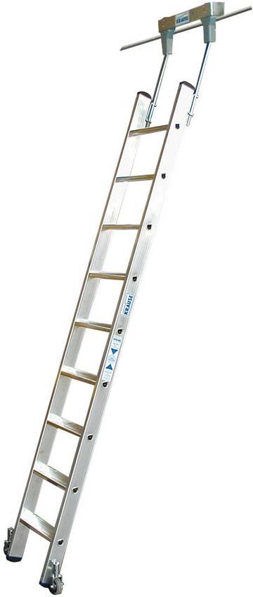 Алюминиевая стеллажная лестница со встроенным блоком роликов для круглой шины (Ø 30 мм).