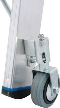 Двухсторонняя стремянка на роликах. 4 подпружиненных, утапливаемых ролика Rollstop-System