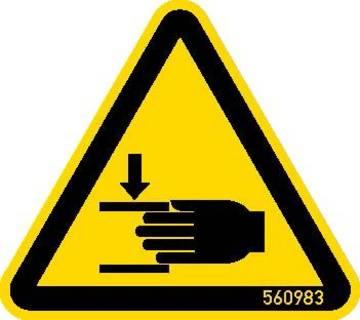 """Знак """"Внимание! Берегите руки!"""" согласно ISO 7010 W024."""