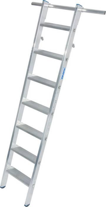 Алюминиевая стеллажная лестница с крюками для навешивания на трубы диаметром Ø 30 мм.
