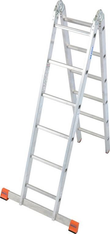 Алюминиевая шарнирная лестница используется как стремянка или приставная лестница при внутренних или наружных работах.