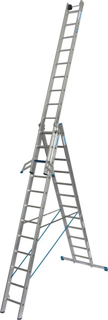 Трехсекционная алюминиевая универсальная лестница с комбинацией перекладина/ступень для применения в соответствии с TRBS 2121-2. Благодаря новой инновационной комбинации ступеней и перекладин лестница может использоваться при подъеме и как рабочее место. Применяется как приставная, выдвижная лестница с как стремянка с выдвижной частью, а также благодаря системе KRAUSE Trigon-траверса отдельно используемой съемной частью лестницы.