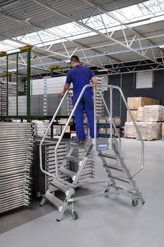 Пример использования Лестница с платформой двухсторонняя, с плинтусом и высоким ограждением, согл. EN 131-7