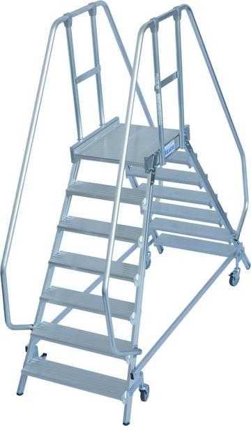 Двухсторонние передвижные алюминиевые лестницы с платформой. Широкие ступени, трехстороннее ограждение и большая платформа для удобства и безопасности при работе.