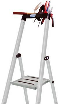 Стремянка Sepuro. Полка для инструмента и мелких предметов, с крюками для ведра и 2 держателями кабеля