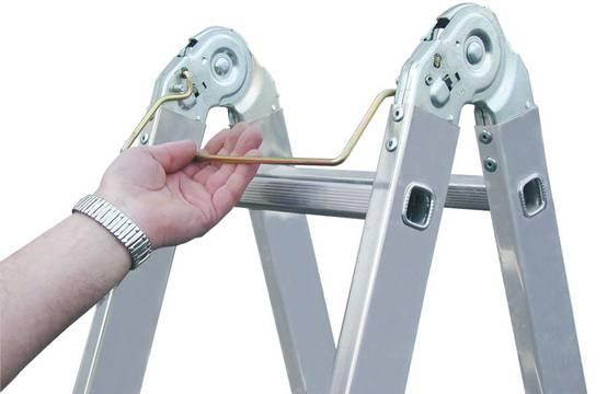 Двухсторонняя шарнирная лестница TriMatic. Запатентованный шарнир. При помощи дуги приводится в действие одной рукой