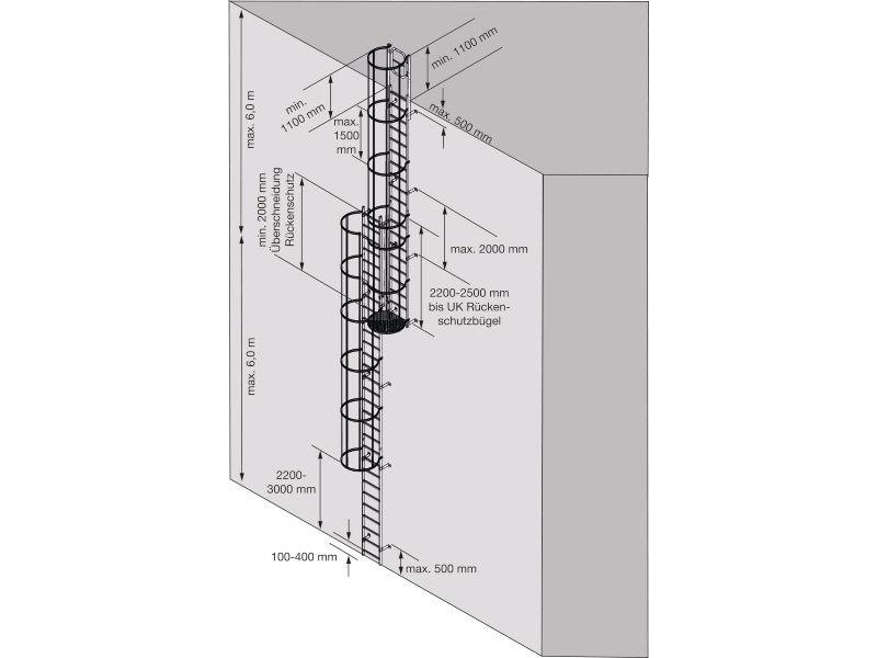 Вертикальные лестницы, соответствующие нормам DIN 14122-4. Стационарные лестницы на промышленных объектах. Сфера применения: Доступ к стационарному и мобильному технологическому оборудованию.