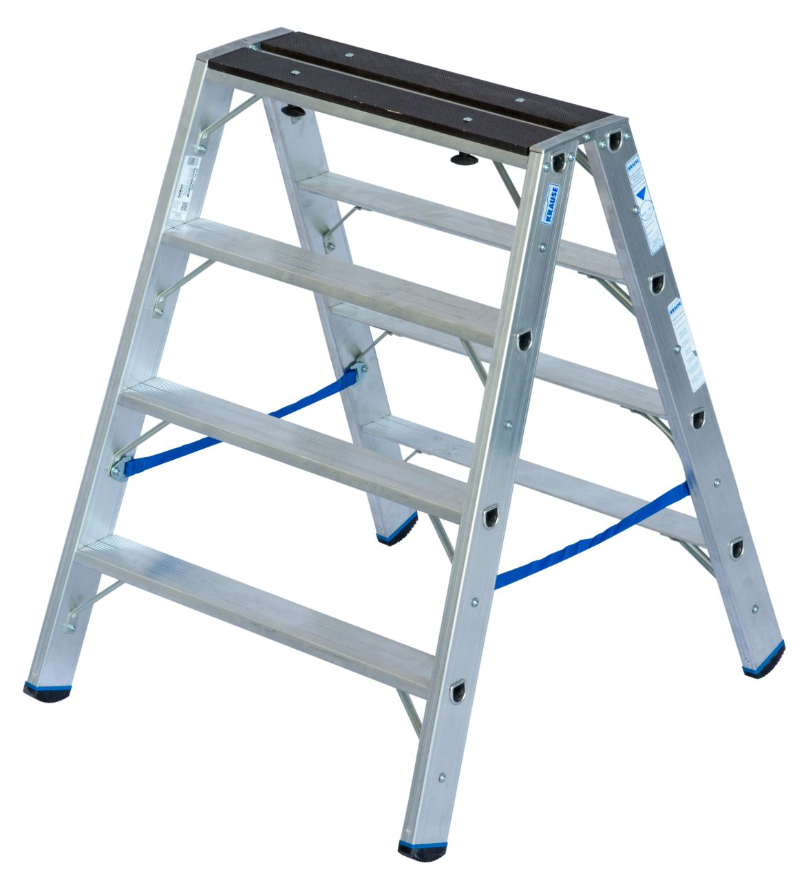 Двухсторонняя стремянка с деревянной накладкой. Профессиональная алюминиевая стремянка с практичными функциями. Используется в качестве двухсторонней стремянки или подмости.