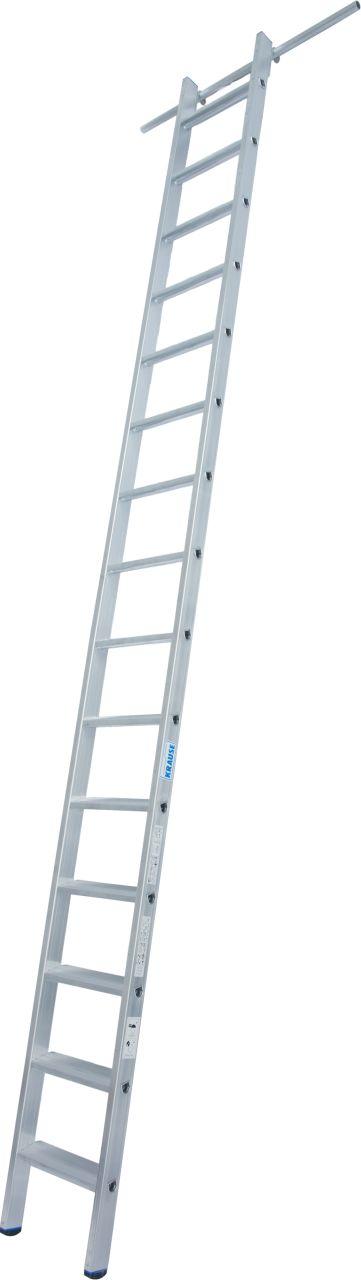 Стеллажные лестницы с одной парой крюков. Алюминиевая стеллажная лестница с крюками для навешивания на трубы диаметром Ø 30 мм.