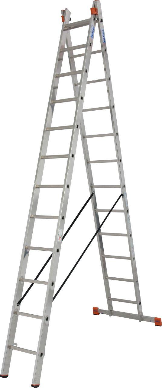 Двухсекционная универсальная лестница Dubilo. Двухсекционная универсальная лестница используется как стремянка