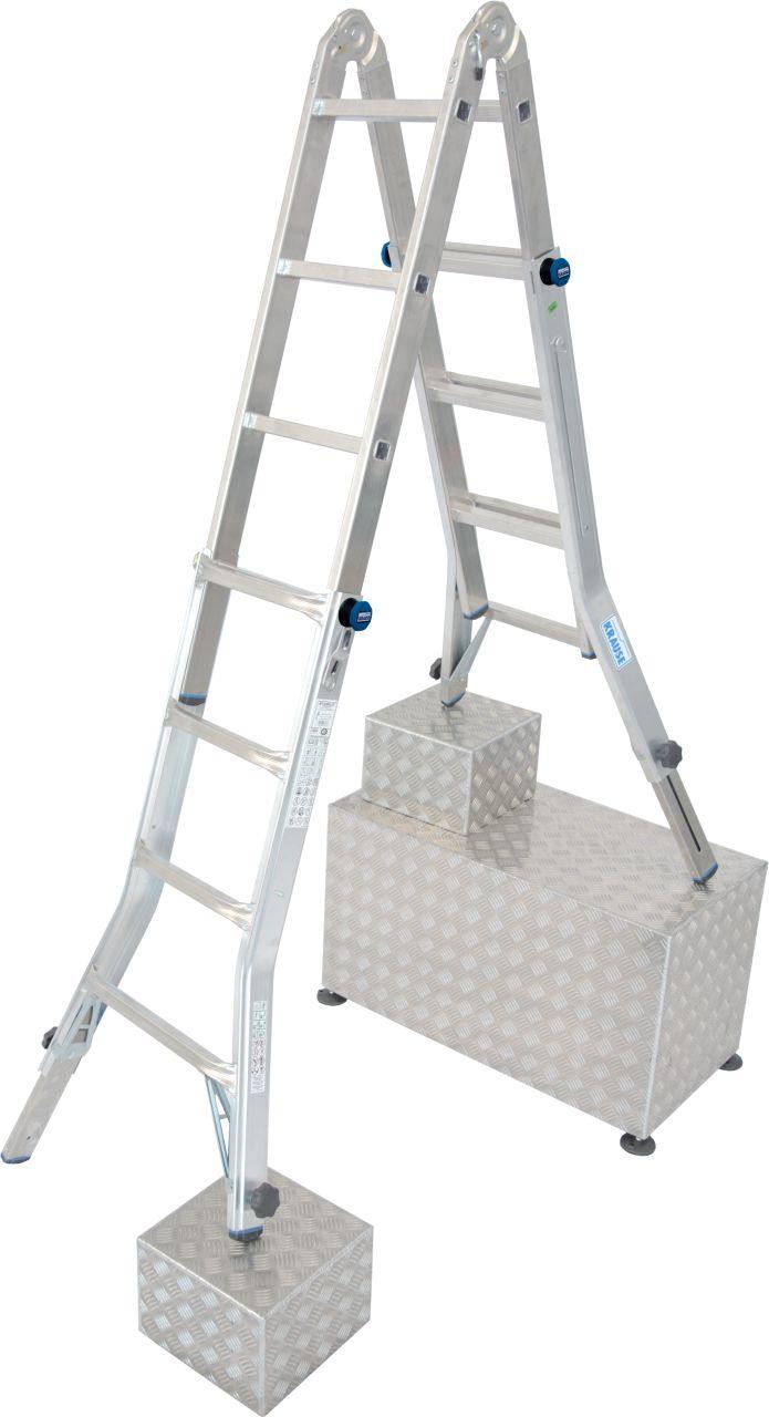 Шарнирная телескопическая лестница с 4 удлинителями боковин. Оборудована для выполнения разнообразных и сложных заданий на высоте. Усиленная, регулируемая по высоте стремянка для лестничных пролётов с функциями приставной лестницы и рабочей платформы. (пр