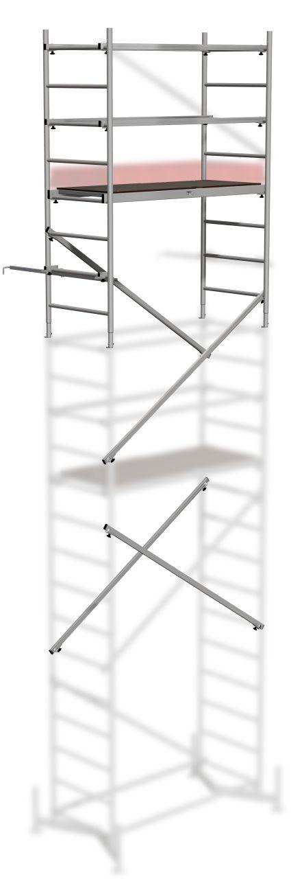 Рабочая вышка – тура из алюминиевого сплава. Базовая конструкция.. Алюминиевая вышка-тура для разнообразной и быстрой работы внутри и снаружи помещений.