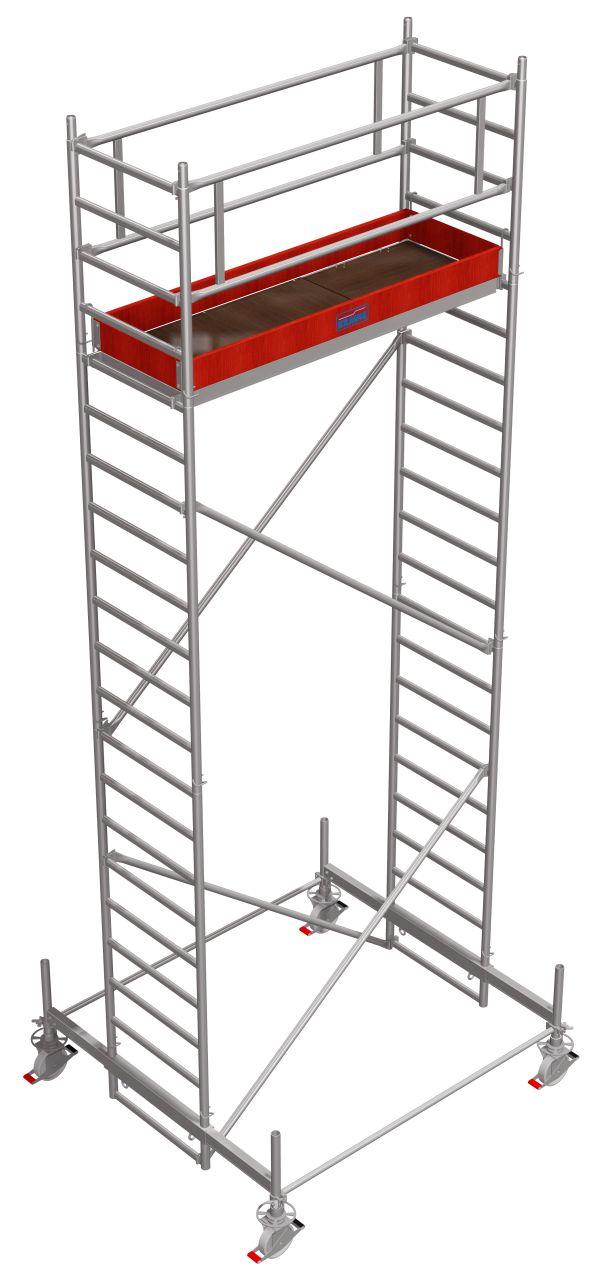 Вышка-тура серии 100 / 2,00 х 0,75 м. Вышка-тура для профессионалов с облегчённой алюминиевой телескопической траверсой.