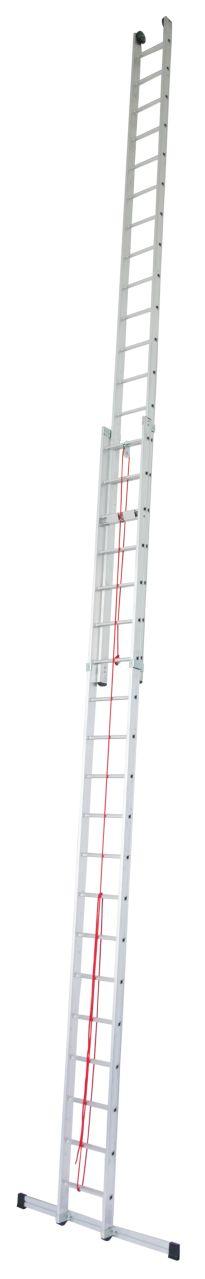 Двухсекционная лестница с тросом. Двухсекционная лестница с тросом для профессионального использования с рабочей высотой до 13,10 м с настенными роликами для удобного выдвижения лестницы.