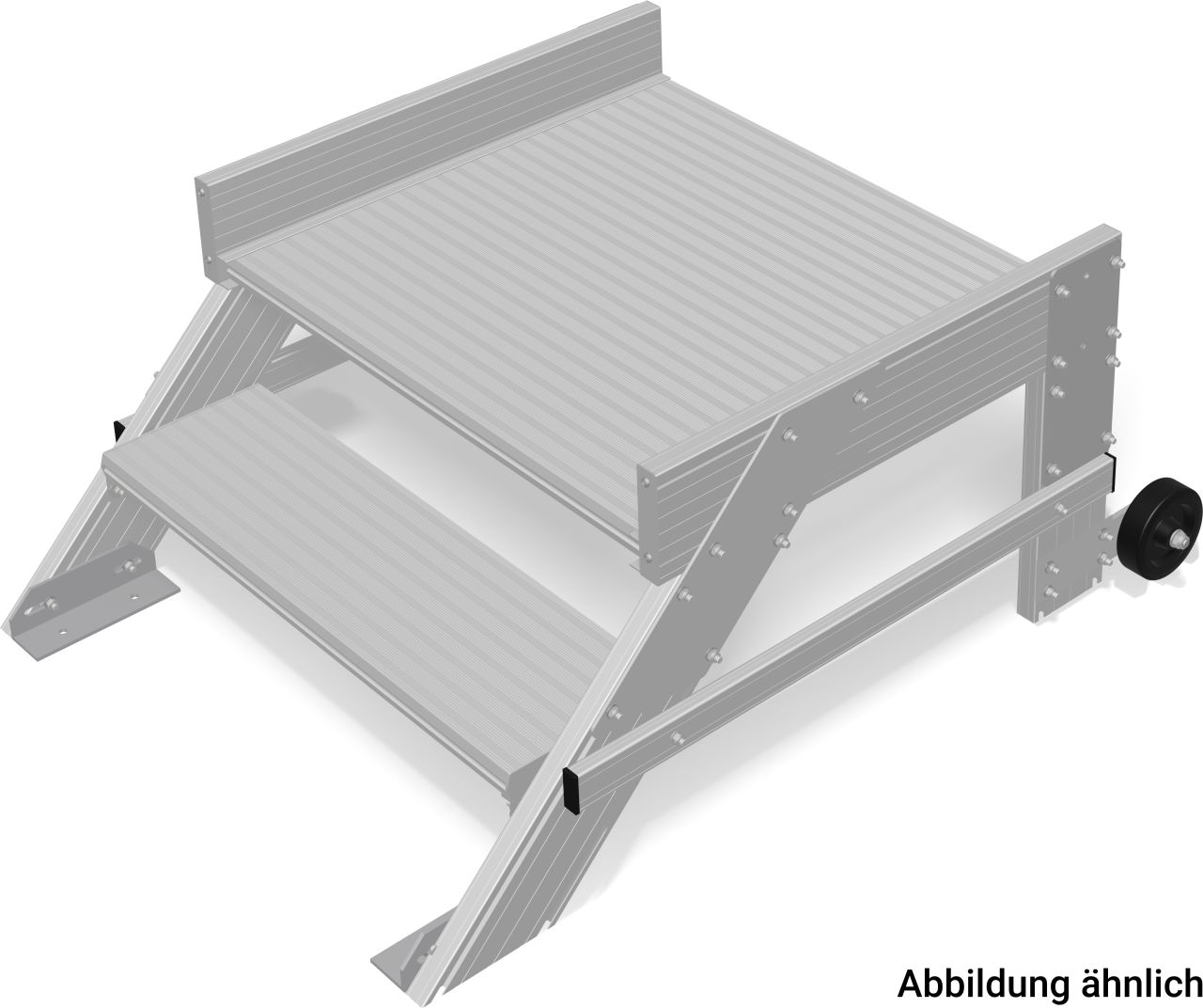 Лёгкий передвижной трап с платформой из алюминиевого профиля.