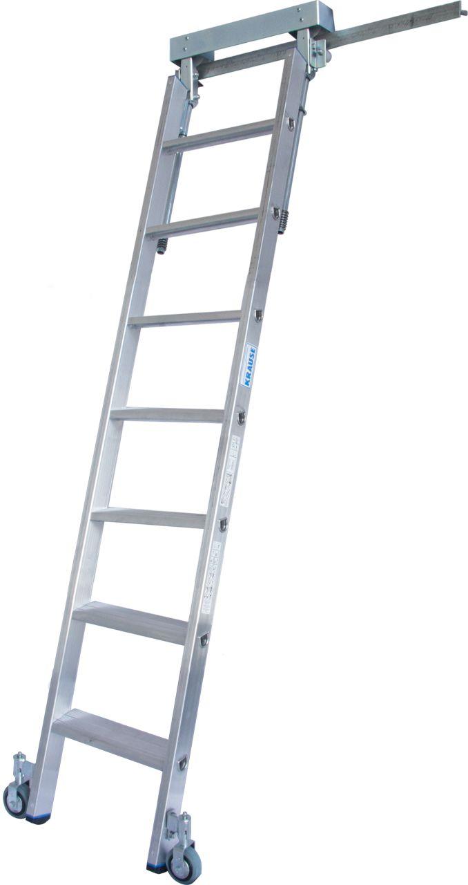 Стеллажные лестницы для Т - шины. Алюминиевая стеллажная лестница со встроенным блоком роликов для Т -образной шины.