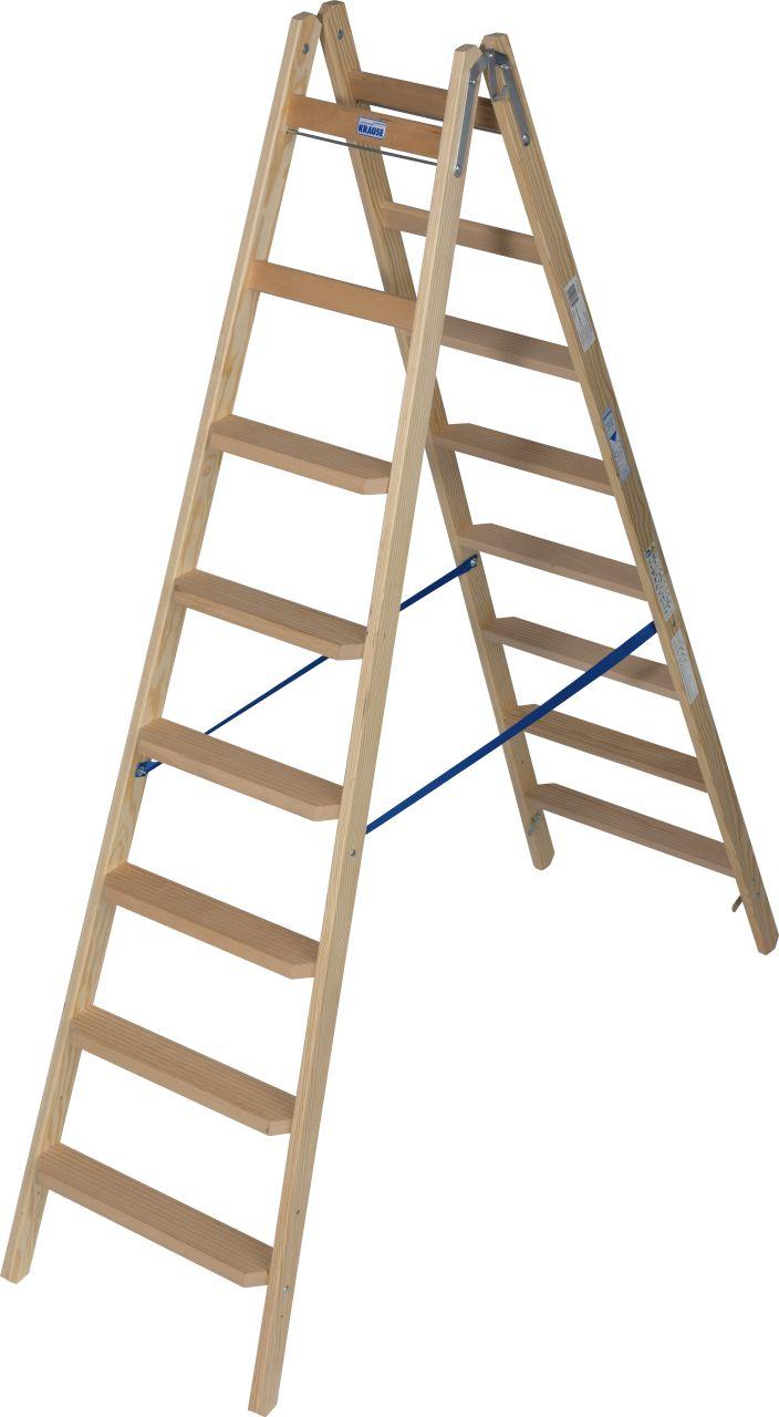 Деревянная лестница с перекладинами и ступенями. Комфортабельная, двухсторонняя стремянка из дерева<br>соответствует требованиям TRBS 2121-2 за счёт комбинирования перекладин и ступеней<br>Идеально подходит для электриков и маляров.